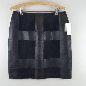 Alfani Genuine Black Leather Skirt Size 8